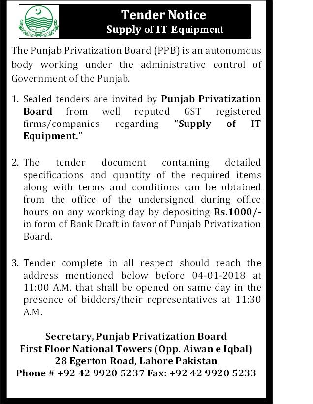 Tender Notice   Punjab Privatization Board